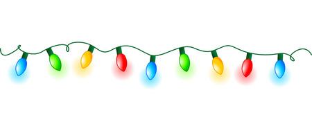 Colorful glowing christmas lights border  frame. Colorful holiday lights illustration Ilustração