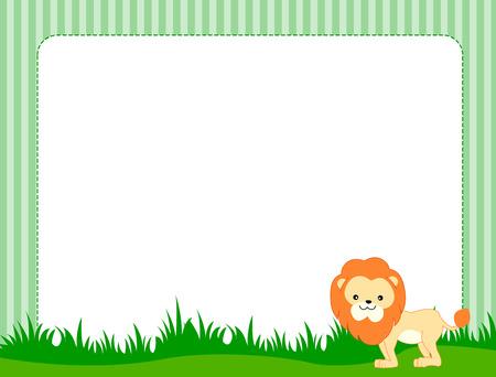 hunter playful: Illustration of a cute little lion on grass border  frame specially for kids Illustration