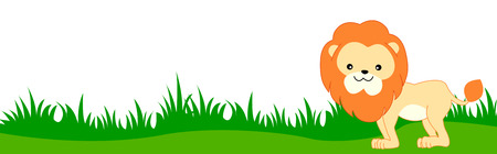 footer: Cute lion on green grass web page border  header  footer isolated on white background illustration
