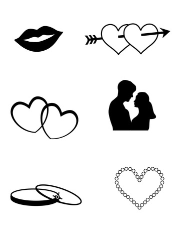 matchmaking: Love and wedding related web icon  silhouettes collection isolated on white background