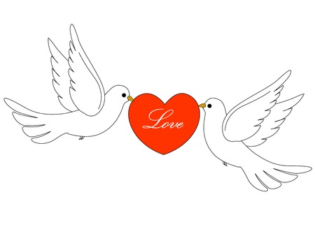 Illustration of two white pigeons  doves carrying a red heart with love text inside . Vector