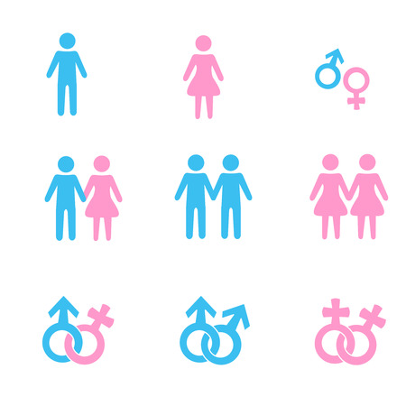 homosexual sex: Man and women relationship symbols collection in pink and blue isolated on white