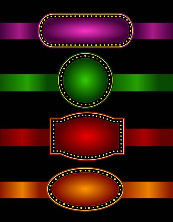theater marquee: Elegant Glowing Retro Theater Marquee border  frame with shiny ribbons.. background collection specially for advertising  billboard projects