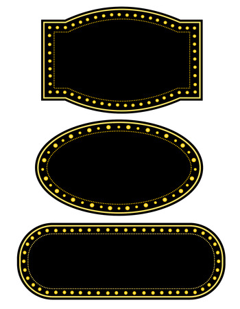 Glowing Retro Theater Marquee border  frame collection