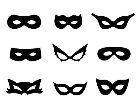 hidden danger: Black mask shapes collection isolated on white background.