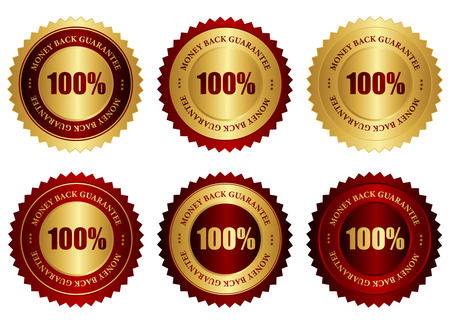 moneyback: Collection of different color 100% moneyback guarantee stamps  seal in gold and red isolated on white background Illustration