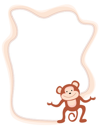 anthropoid: Monkey frame with a cute little monkey on corner
