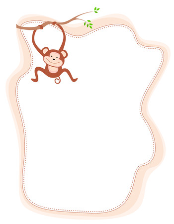 tease: Cute little monkey hanging from a branch with frame illustration isolated on white Illustration