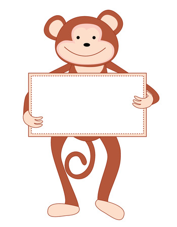 anthropoid: Cute monkey holding an empty notice board isolated on white background