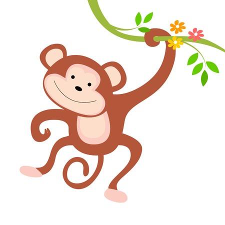 mono caricatura: Pequeño mono lindo que cuelga de una rama con flores ilustración aislado sobre fondo blanco Vectores