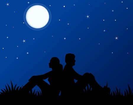 Man and woman in love sitting on grass at moonlight.. back to back.. love is in the air.. background for greetings or website s Vectores