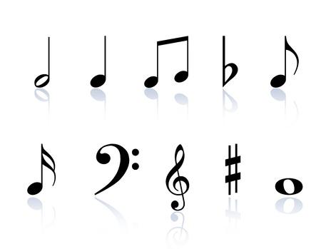 clave de fa: Notas de la música negra y símbolos aislados sobre un fondo blanco Vectores