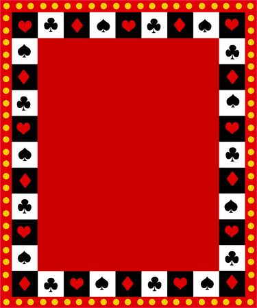 Poker playing cards border, Ace frame with glowing lights on outside photo