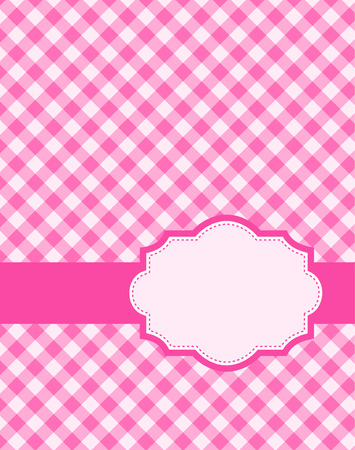 gingham pattern: Cute pink gingham pattern with retro frame