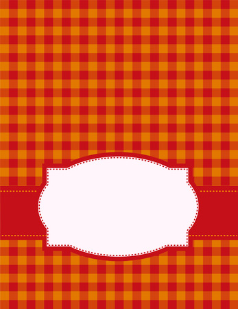gingham pattern: Red and orange hot summer gingham pattern background with a retro frame