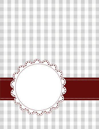 gingham pattern: Ash color gingham pattern with lace border  frame and ribbon