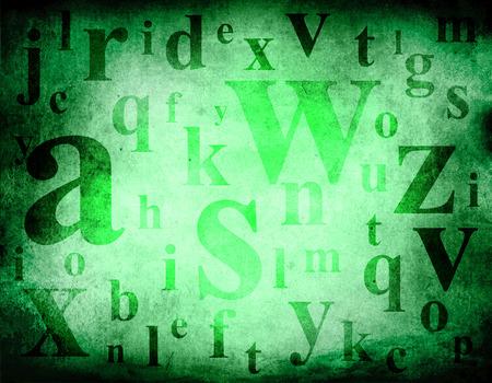 Random english alphabet letters mix on brown dark grunge background illustration.