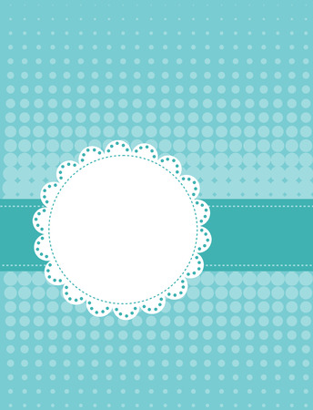Circle lace frame on beautiful halftone dotted background photo