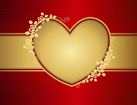 wedding backdrop: Illustration of golden love heart with floral design and copy space on red background.