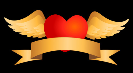 halo: Illustration of red flying heart with wings , halo and gldribbon on bottom Stock Photo
