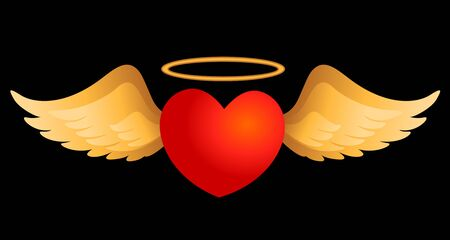 Illustration of a red flying heart with gold wings and halo illustration