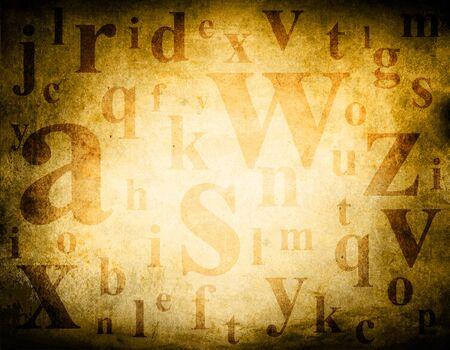 jumbled: Random english alphabet letters mix on brown dark grunge background illustration.