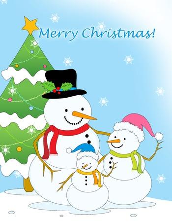 neige qui tombe: Merry carte de voeux de Noël avec la petite famille de bonhomme de neige mignon et arbre de Noël sur fond de chute de neige Banque d'images
