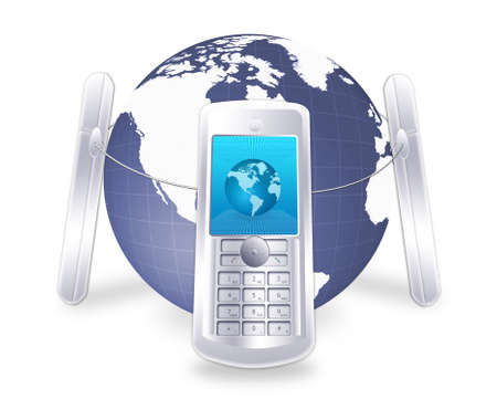illustratin: Mobile communication concept - globe with mobile phones around it. ideal illustratin for new technology banner  header designs