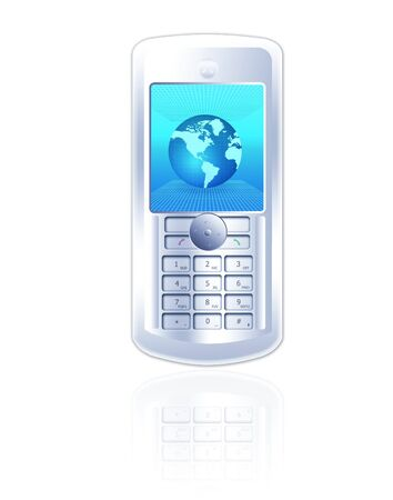 dialing: Clipart of a stylish mobole phone with globe wallpaper isolated on white background Stock Photo