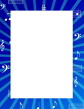 musical score: Music notes border  frame with empty white space on center