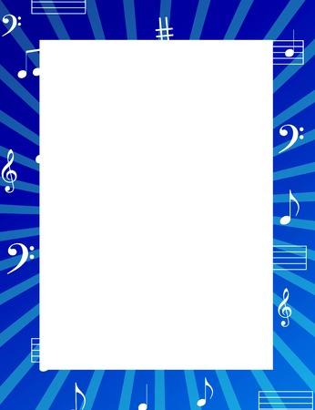 Music notes border  frame met lege witte ruimte op het midden