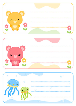 cute printable name tags name cards for kids illustration isolated