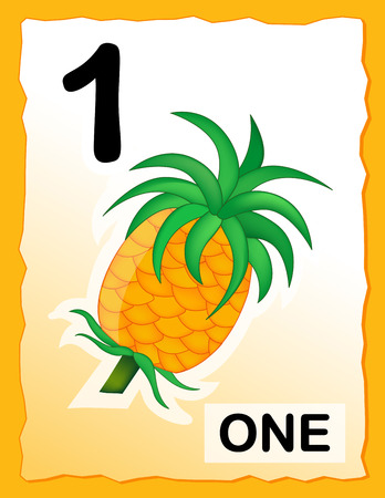 child s: Kids learning material.. printable number one card with an illustration of a pineapple