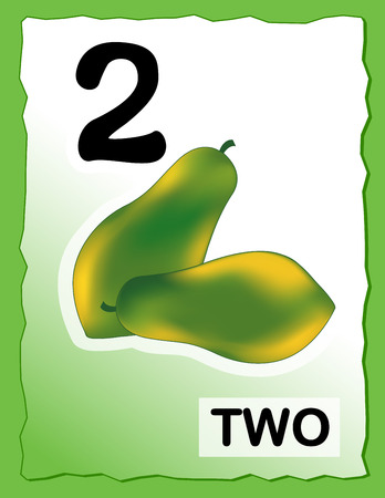 numerals: Kids learning material.. printable number two card with an illustration of papayas Illustration
