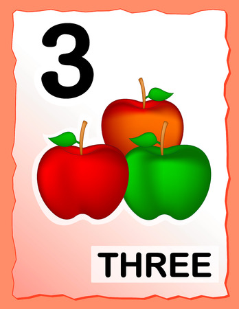 Kids learning material.. printable number three card with an illustration of apples