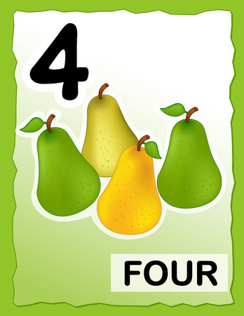 Kids learning material.. printable number four card with an illustration of pears Vector
