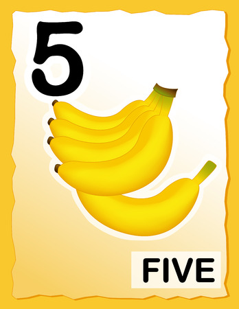 Kids learning material.. printable number 5 card with an illustration of bananas Vector