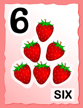 school clipart: Kids learning material.. printable number six card with an illustration of strawberries
