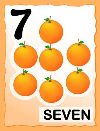 Kids learning material.. printable number seven card with an illustration of oranges Vector