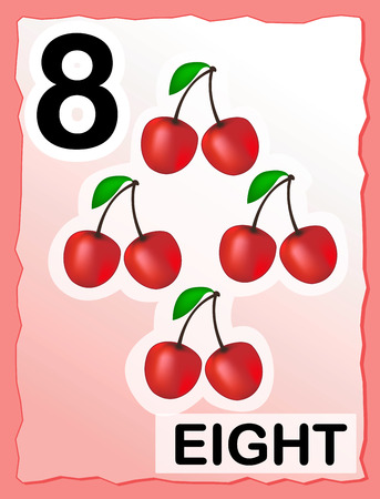 Kids learning material.. printable number eight card with an illustration of cherries Vector