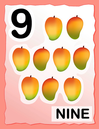 Kids learning material.. printable number nine card with an illustration of 9 mangoes Vector