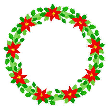 Beautiful Christmas wreath  border with colorful holly and poinsettia flowers on white background