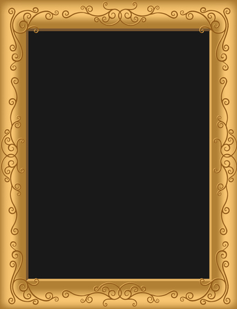 gilt: Illustration of an antique picture frame with a black background and copy space.