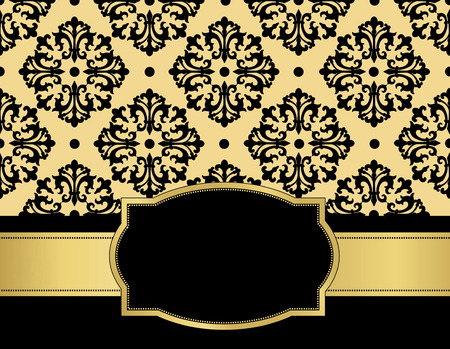 specially: Elegant black and golden seamless damask pattern with ribbon and frame. specially for wedding  anniversary invitation design Illustration