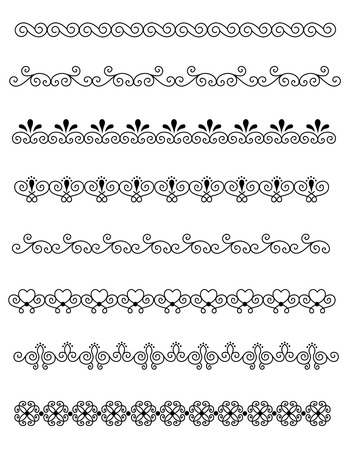 separator: Clip art  line art collection of different decorative page dividers  border Illustration