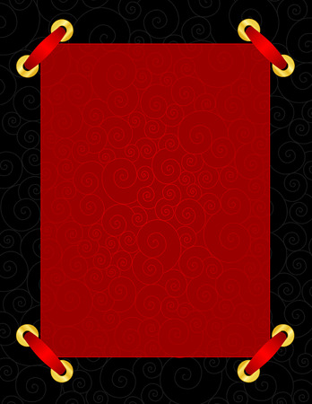 specially: Shiny red ornamental background with black frame and red ribbon on corners specially for wedding  party invitations