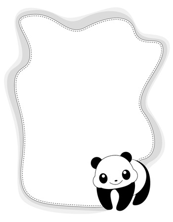 Cute anumal bordr  frame with panda. Vector