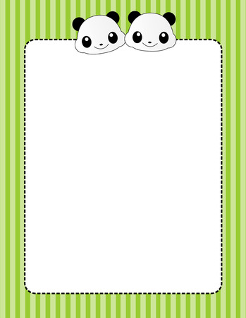 Cute giant pandas page border  frame witha panda and green striped patterned background Vector