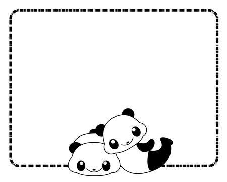 Cute panda couple playing in love  border  frame Vector