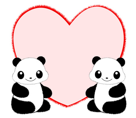 Cute panda couple sitting infront of red heart illustration isolated on white